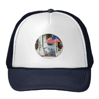 Porch With Flag And Wicker Chair Mesh Hats