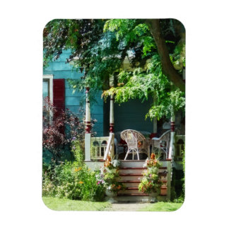 Porch With Flowerpots and Wicker Chairs Magnet