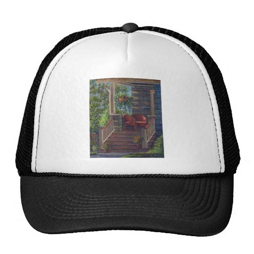 Porch with Red Wicker Chairs Mesh Hat