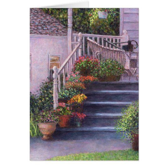 Porch With Watering Cans Card