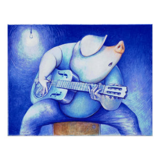 Porcine Blues Pig Playing Guitar  Print