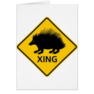 Porcupine Crossing Highway Sign Card