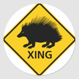 Porcupine Crossing Highway Sign Round Stickers