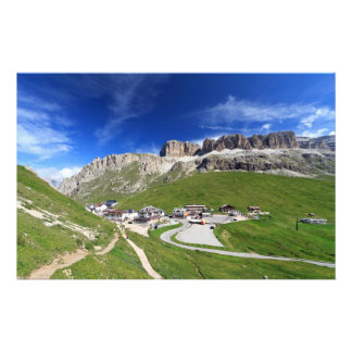 Pordoi pass and mountain stationery design