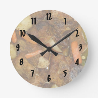 pork carrots potatoes oven baked food design wall clock