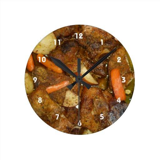 pork carrots potatoes oven baked food design clocks