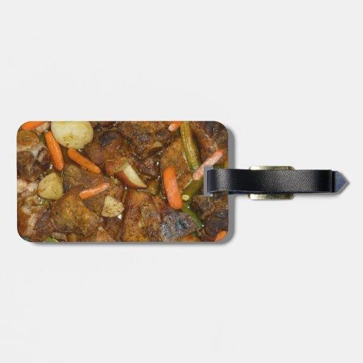 pork carrots potatoes oven baked food design travel bag tags