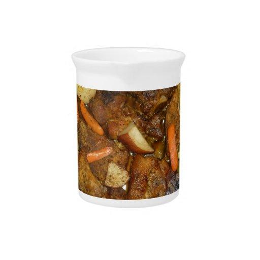 pork carrots potatoes oven baked food design pitcher