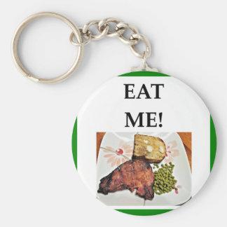 pork chop basic round button key ring