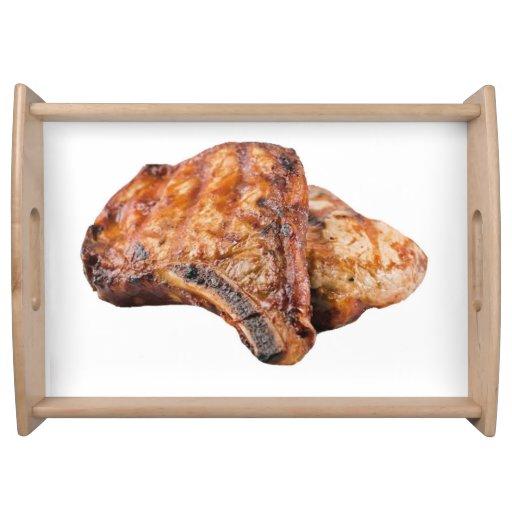 """Pork chop"" design serving trays"
