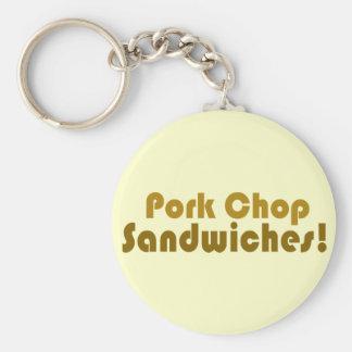 Pork Chop Sandwiches! Basic Round Button Key Ring