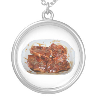 Pork Chops in White Dish Photograph Round Pendant Necklace