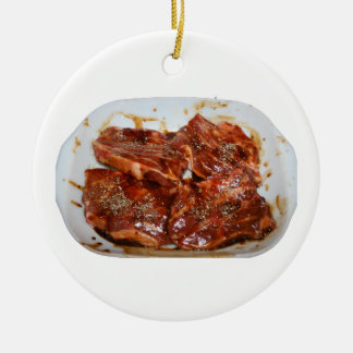 Pork Chops in White Dish Photograph Round Ceramic Decoration