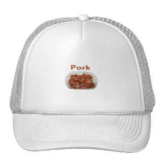 Pork chops in white dish, text PORK Hats