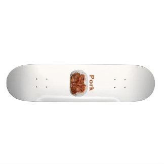 Pork chops in white dish, text PORK Skate Board