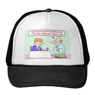 pork chops tofu waiter hat