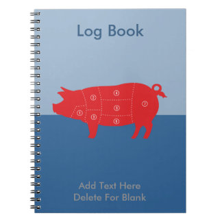 Pork Meat Cuts Chef Cook Pig Chart Spiral Notebook