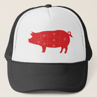 Pork Meat Cuts Chef Cook Pig Chart Trucker Hat