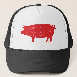 Pork Meat Cuts Chef Cook Pig Chart Trucker Hat