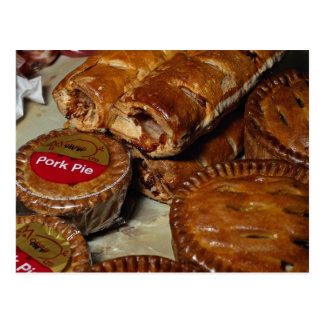 Pork pies and sausage rolls postcard