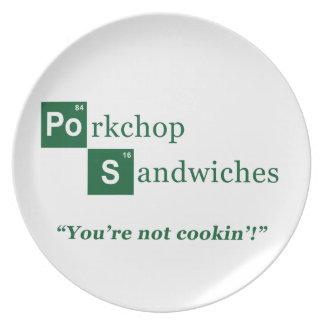 Porkchop Sandwiches Parody Logo Party Plate