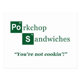 Porkchop Sandwiches Parody Logo Postcard