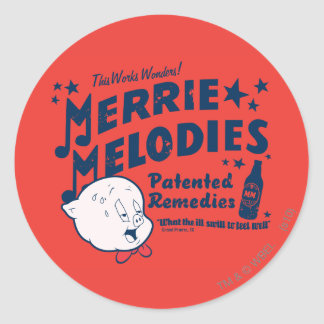 Porky MERRIE MELODIES™ Remedies 2 Classic Round Sticker