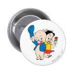 Porky Pig and Petunia 6 Cm Round Badge