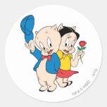 Porky Pig and Petunia Classic Round Sticker