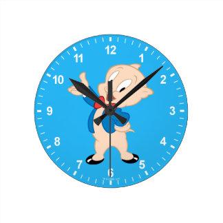 Porky Pig   Classic Pose Round Clock