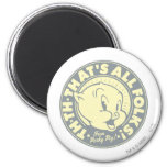 Porky TH-TH-THAT'S ALL FOLKS! 6 Cm Round Magnet
