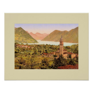 Porlezza Italy Lake Lugano painting Poster
