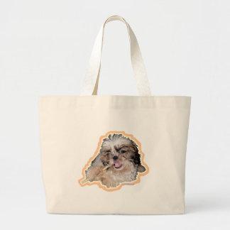poronchi puppy flute large tote bag