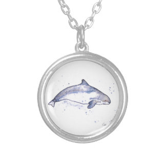 Porpoise Illustration Silver Plated Necklace
