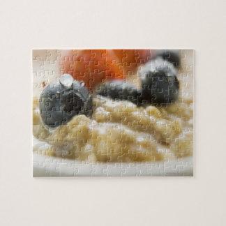 Porridge with berries, close-up puzzle