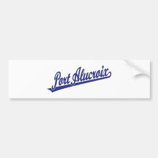 Port Alucroix script logo in blue Bumper Sticker