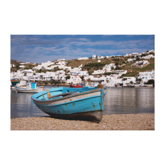 Port and harbor area with Greek fishing boats Canvas Print