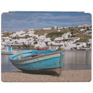 Port and harbor area with Greek fishing boats iPad Cover