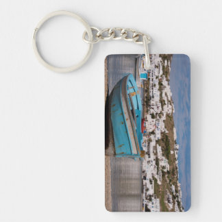 Port and harbor area with Greek fishing boats Key Ring