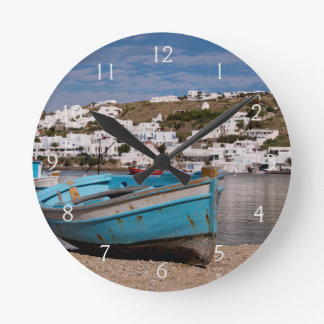 Port and harbor area with Greek fishing boats Round Clock