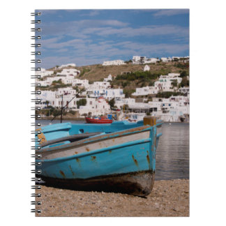 Port and harbor area with Greek fishing boats Spiral Notebooks