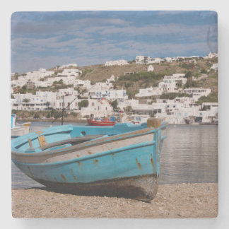 Port and harbor area with Greek fishing boats Stone Coaster