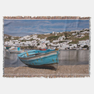 Port and harbor area with Greek fishing boats Throw Blanket