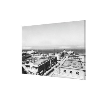 Port Angeles, WA Town View and Harbor Photograph Canvas Print