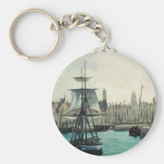 Port at Calais by Manet, Vintage Impressionism Art Key Ring
