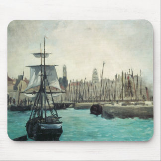 Port at Calais by Manet, Vintage Impressionism Art Mouse Pad