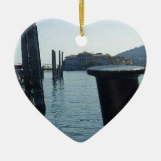 Port Hole View Of Isola Bella From Lago Maggiore Ceramic Heart Decoration
