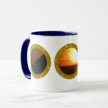 Port Hole View Template White Mugs