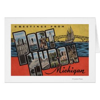 Port Huron, Michigan - Large Letter Scenes Card