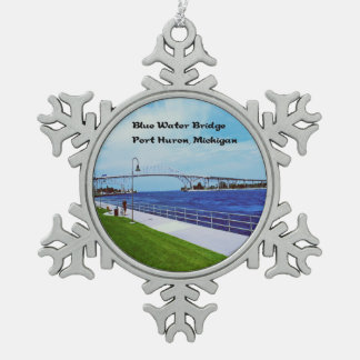 Port Huron Michigan Snowflake Pewter Christmas Ornament